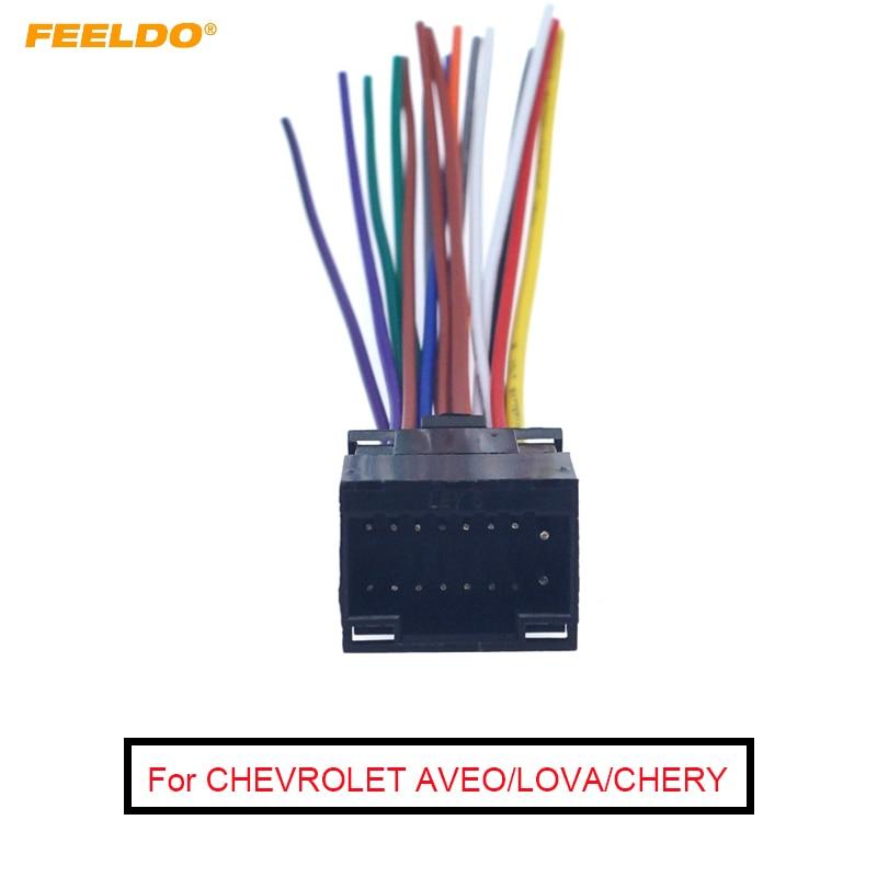 FEELDO, 1 unidad, KEN, 16 Pines, Radio de coche, Cable estéreo, arnés de Cable hembra para CHEVROLET AVEO/LOVA (sedán)/CHERY/LANDWIND, moda