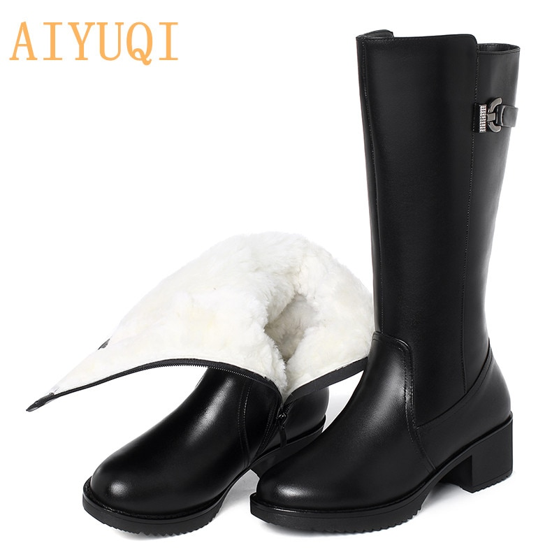 AIYUQI Women Boots Genuine Leather 2021 New Warm Thick Women's Wool Boots Large Size 41 42 43 Wi