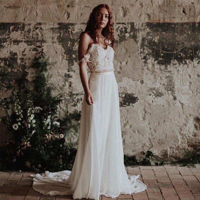 Review MoonlightShadow Bohemia Beach Wedding Dresses A-Line V-Neck Sleeveless Chic Appliques Floor-length Bridal Gown Vestito da sposa