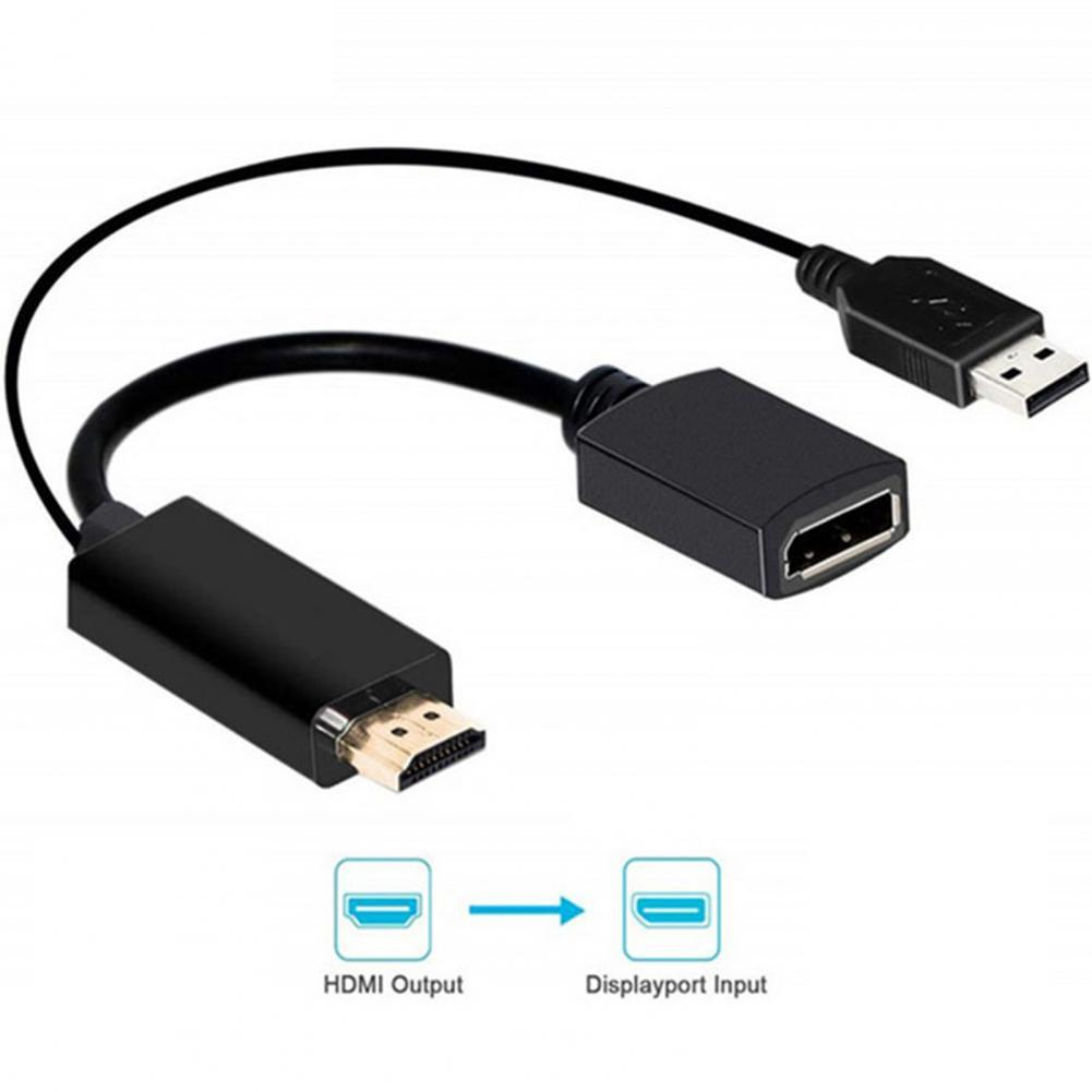 Mini Portable DisplayPort 4K 30Hz Audio Video Adapter Converter Cable for Laptop HDTV Monitor