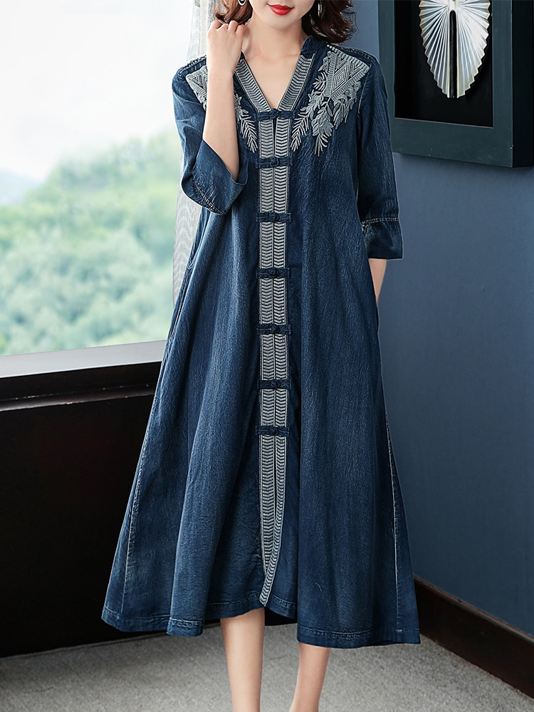 Tiyihaily-معطف واق من المطر صيني عتيق ، للسيدات ، نصف كم ، مطرز ، عصري ، صدر واحد ، ياقة على شكل v ، شحن مجاني