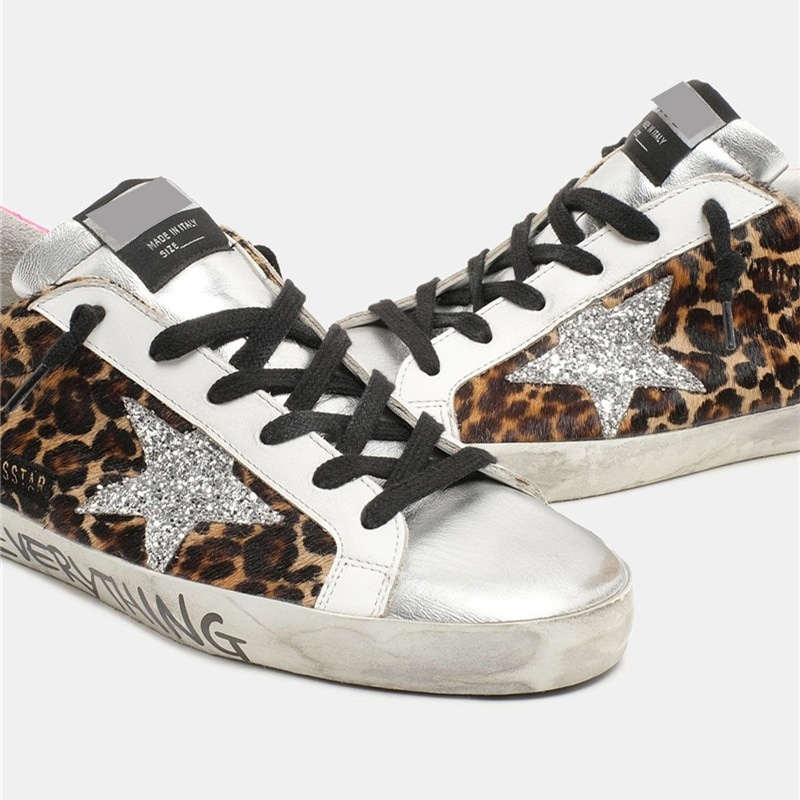 2021 Spring/Summer New Leopard Print Horsehair Retro Dirty Dirty Shoes Children's Sequined Stars Casual Parent-child Shoes QZ22 enlarge