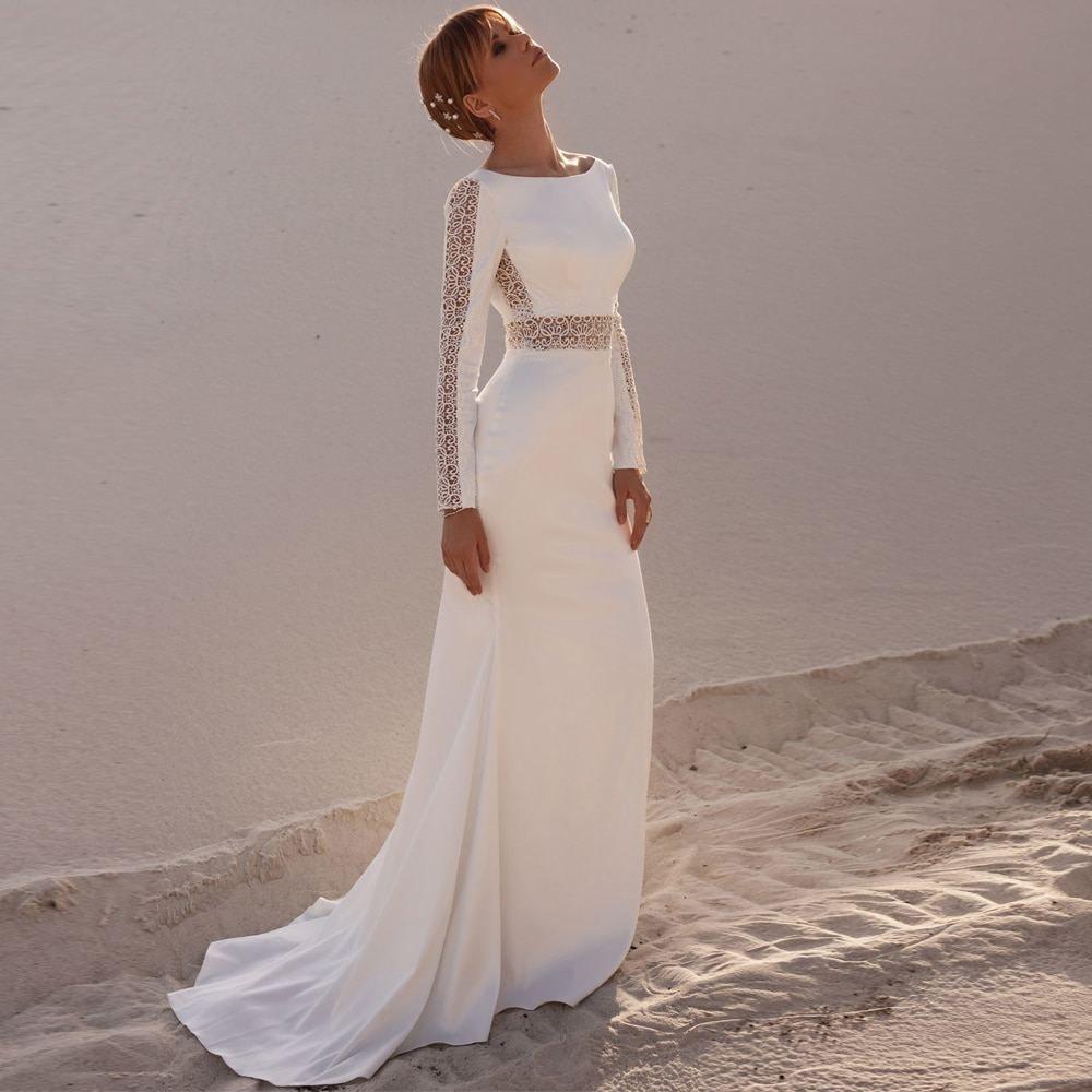 Review Vestidos Sexy Wedding Dresses Jersey Lace Pleat Bateau Full Sleeve Backless A-Line Bridal Gowns Novia Do 2021