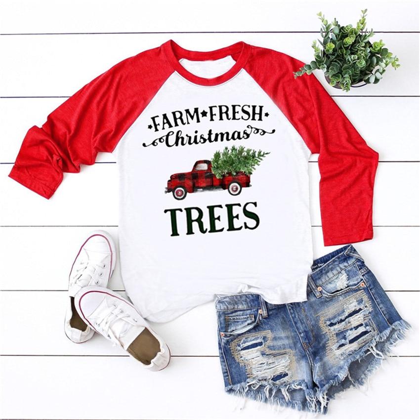 Рождественский топ футболка с длинным рукавом для женщин 2019 с изображением новогодней елки Топы Тройник Бейсбол рукав реглан рубашка свобо...
