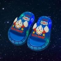 2021 footwear luminous jelly summer childrens led slipper girls slippers pvc non slip beach sandals kids home bathroom blue