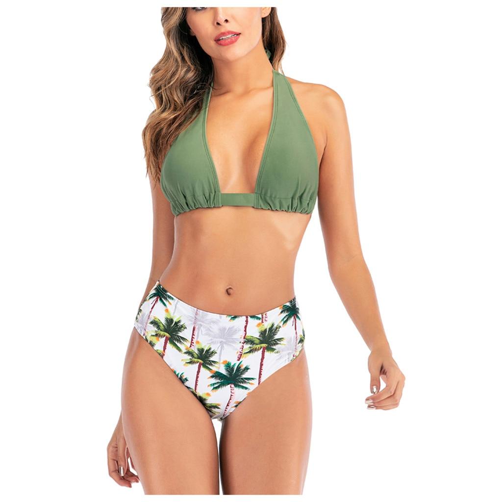 Mulheres micro biquíni quente sexy impressão cintura alta bandagem bikini conjunto de biquíni push up 2020 feminino maiô biquinis fg5