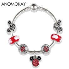 Nouveau Design rouge Murano Mickey Minnie bracelets porte-bonheur et bracelets à la main bricolage perle bracelet bijoux pour fille cadeau livraison directe