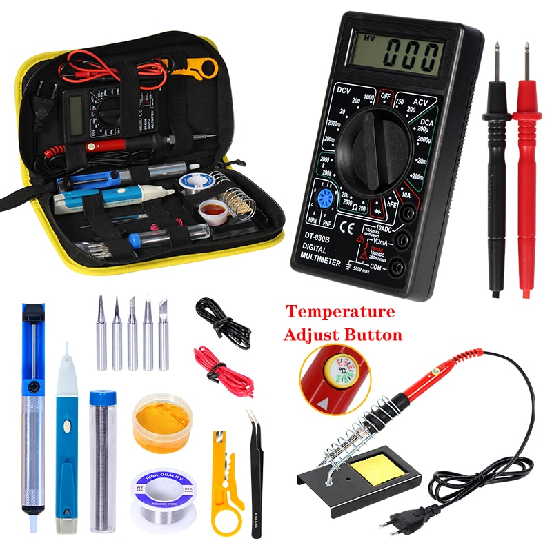 Kit de pistola para soldar con multímetro Digital contador de voltaje AC/DC luz de Flash soldadura de hierro 80W/60W 220V Kits de herramientas de soldadura