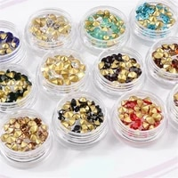 mix 12 colors glitter round diamond sharp v bottom acrylic nail box jewel nail art rhinestones jewelry diy decoration wheel tips