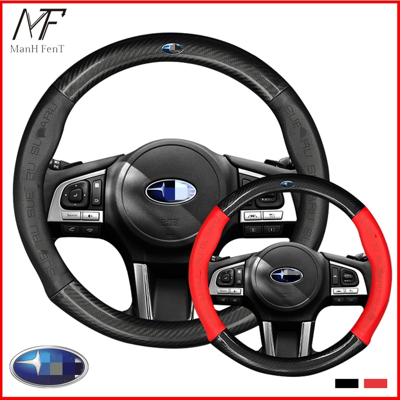 ManH FenT Carbon Fiber Leather Car Steering Wheel Cover For Subaru Forester Impreza Outback Legacy XV WRX STI BRZ Impreza Ascent