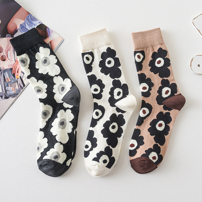 2020 Korean Fashion Flower Print Socks Women Girls Hosiery Harajuku Sweet Midi-Tube Socks Summer Spring Breathable Cotton Socks