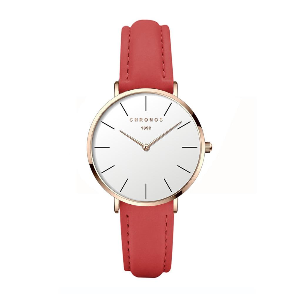 CHRONOS Women Stylish Wristwatch Simple Ultra Thin Round Glass Leather Alloy Watch  Quartz  Ladies Fashion Red Clock CH26 enlarge