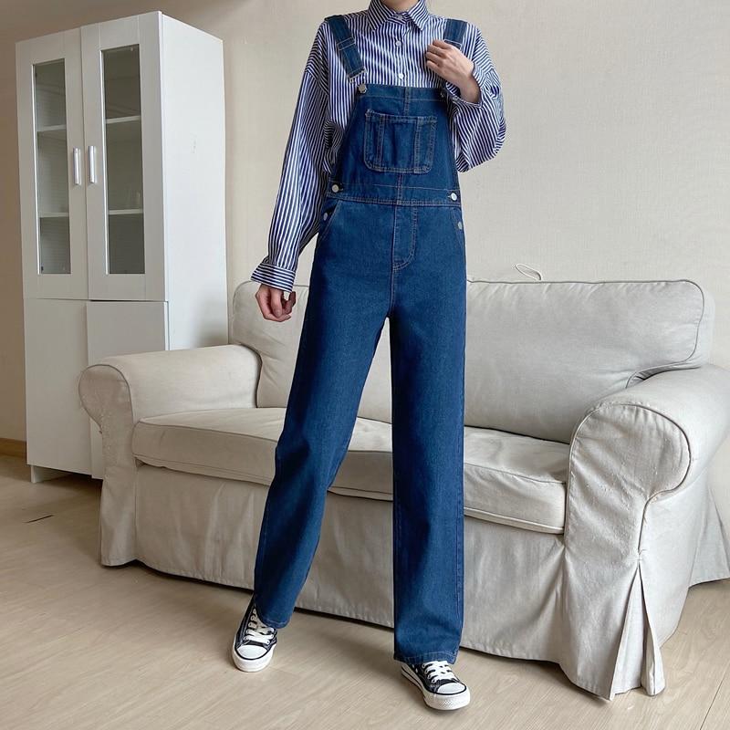 Korean Casual Loose Denim Jumpsuits Women High Waist Straight Wide Leg Harajuku Jeans Romper Spaghetti Strap Solid Overalls 2021