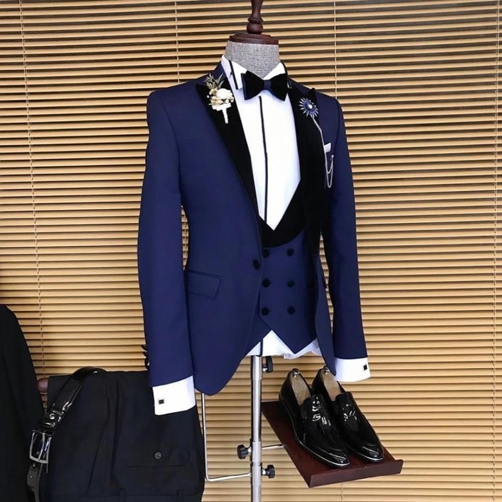 أزرق كحلي حلي أوم رجال الأعمال الدعاوى بدل زفاف للرجال Ternos Masculinos سليم صالح البدلات الرسمية 3 قطع