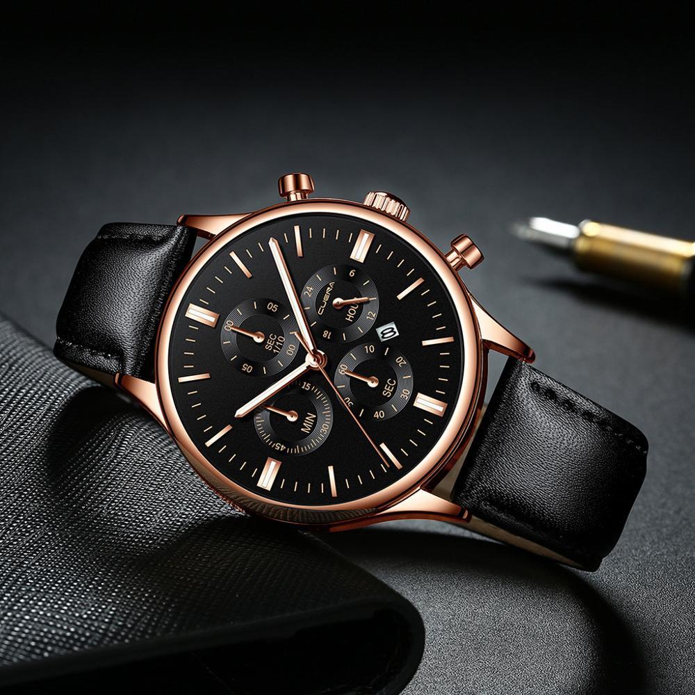 CUENA Men Watches Fashion Luxury Sport Men's Stainless Steel Case Leather Band Quartz Analog Wrist Watch Relogio Masculino