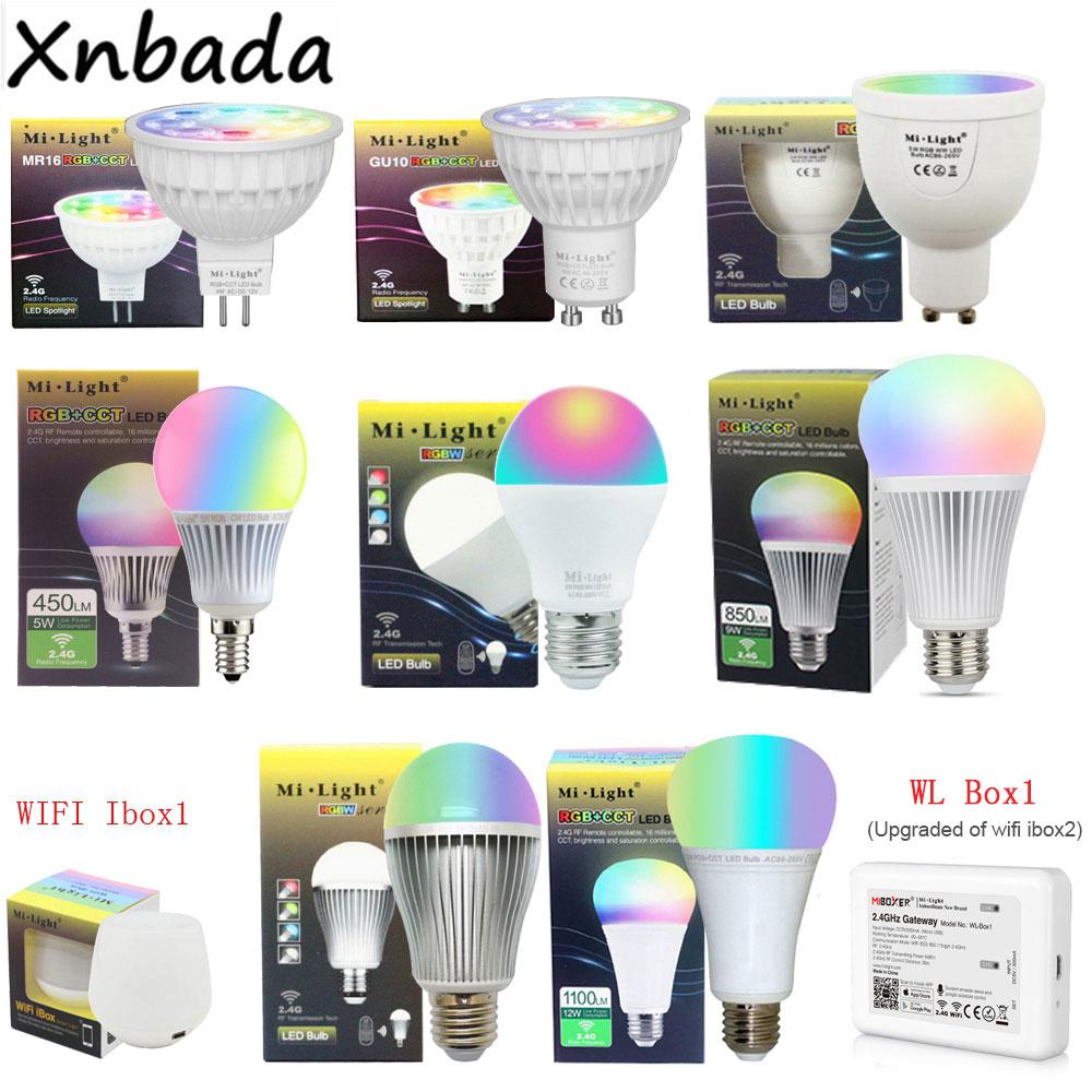 Светодиодная лампа Milight, 2,4G, 4 Вт, 5 Вт, 6 Вт, 9 Вт, 12 Вт, CCT/RGBW/RGBWW/RGB + CCT, Светодиодная лампа MR16, GU10, E14, E27