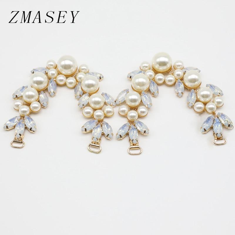 New 158MM 1Pcs Crystal Bikini Connector Pearl Embellished Crafts, DIY Golden Swimwear Shoe Buckle Jewelry Accessories