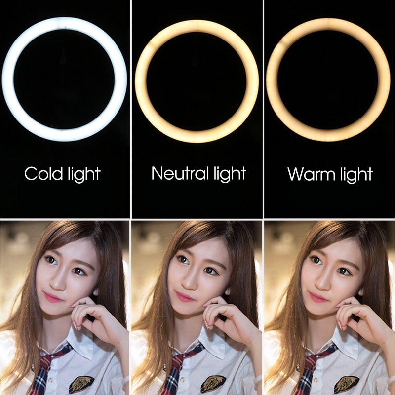 Photo LED Selfie Ring Light Fill Lights 10inch Dimmable Camera Phone Ring Lamp With Stand Tripod For Makeup Video Live Studio