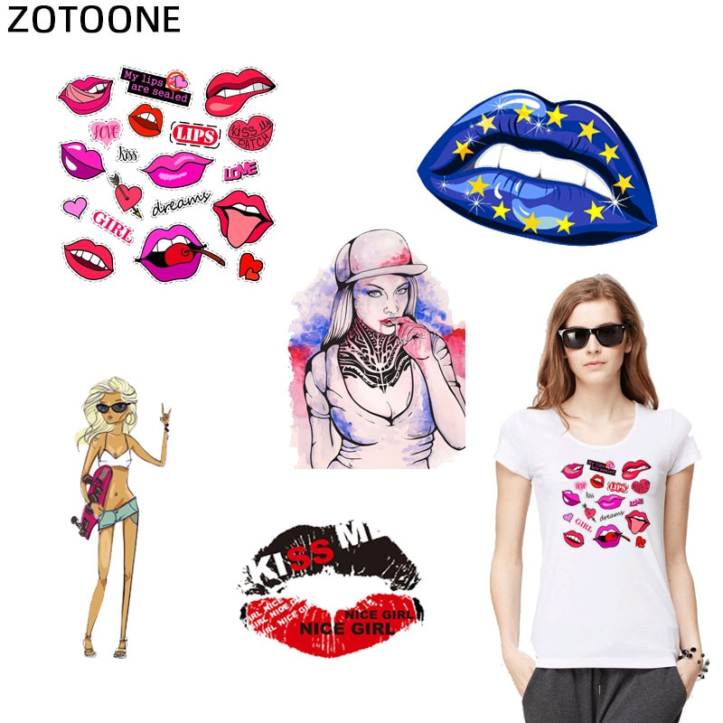 ZOTOONE DIY Accessory Heat Transfer Patches Clothes Stickers T-shirt Dresses  Fashion Lips Style Patches Heat Press Appliques  I