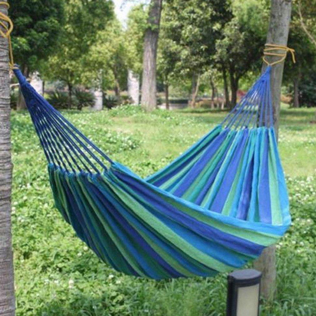 Двойной гамак из толстой холщовой ткани, портативный гамак, уличные качели для кемпинга, сада, подвесное кресло-качели, синие, красные