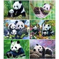 Peinture diamant Animal Panda  perceuse complete  strass carres  broderie en point de croix  decoration de maison pour ferme  soldes