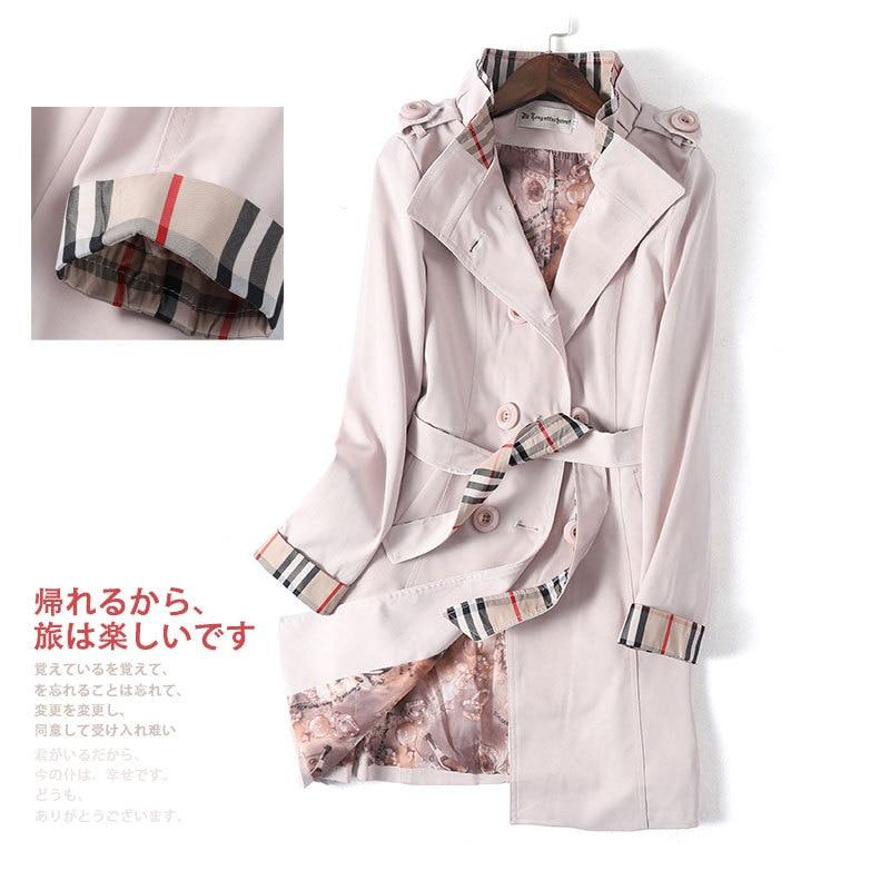 2020 primavera moda lapela temperamento duplo breasted encerramento meados de comprimento trench coat feminino