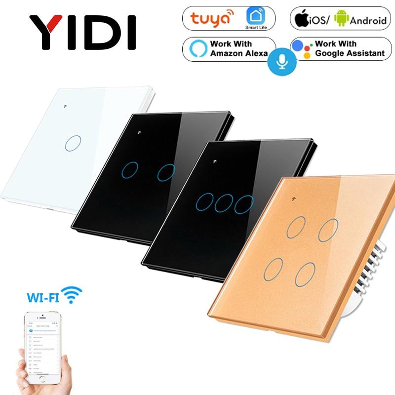 1, 2, 3, 4 WiFi inteligente Interruptor táctil para luz APP Remote Control AC 85v 220v Reino Unido UE inalámbrico estándar de casa inteligente tableta amortiguador Tech accesorio beige Rojo Negro compruebe Tartan tableta amortiguador forma interruptor