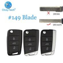OkeyTech for V W Golf MK7 3 Skoda Seat Passat B6 Remote Flip Auto Car Key Shell Fob Cover Case Parts Blank HU162T Blade for Keys