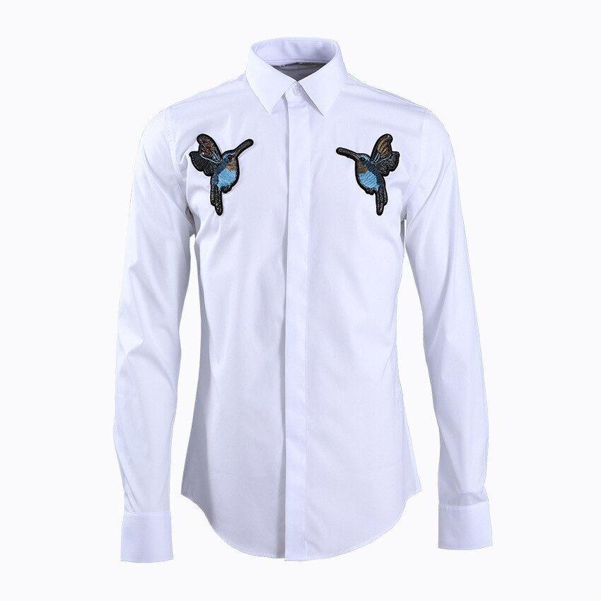 Nueva llegada de alta calidad doble sello Kingfisher pintado a mano hombres moda Casual 80% Algodón 20% poliéster Camisas talla grande m-4XL