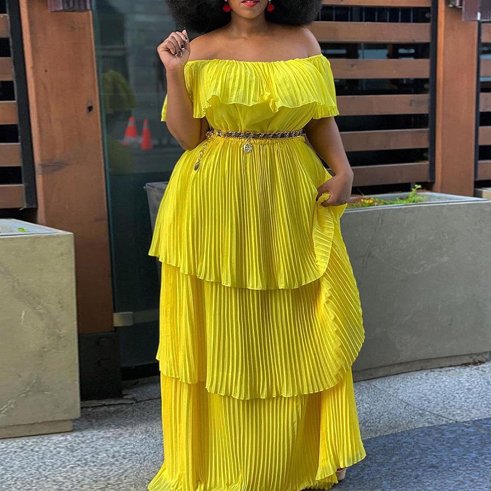 الأصفر قبالة الكتف الكشكشة مطوي اللباس زائد الحجم المرأة عارضة الشاطئ عطلة مائل الرقبة الطبقات الصيف طويل ماكسي فساتين