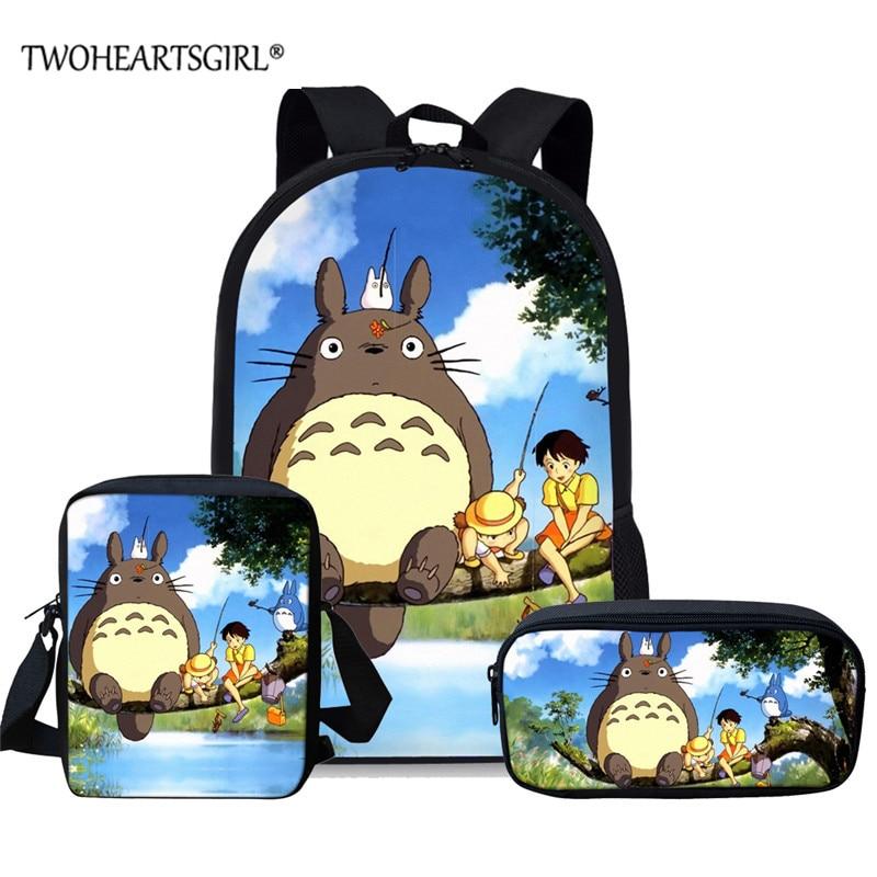 Bolsas de Escola para Adolescente Meninas dos Desenhos Twoheartsgirl Clássico Vizinho Totoro Meninos Animados Mochila 3 Pçs – Set Escola Secundária Bookbag Meu