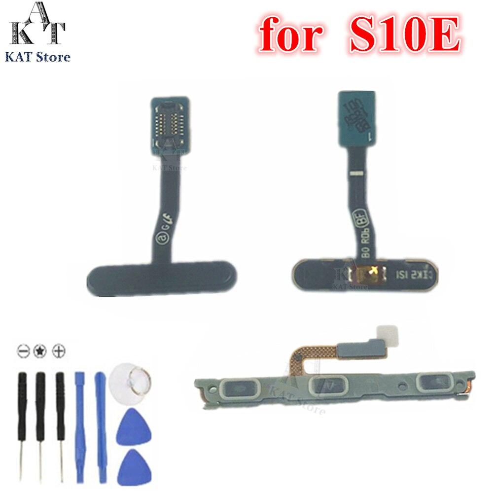 1 Uds huellas dactilares Sensor táctil interruptor de alimentación de volumen botón en el lateral clave reemplazo de cable flexible para Samsung S10e S10 E G970