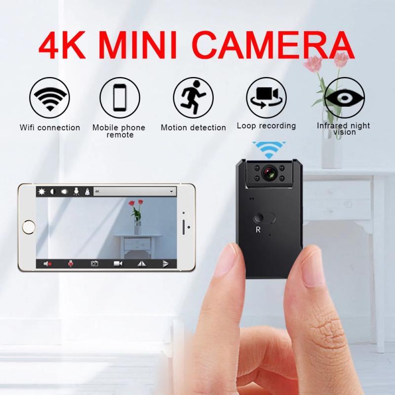 4K كاميرات مراقبة صغيرة مع واي فاي كاميرا فيديو لاسلكية IP HD للرؤية الليلية فيديو مايكرو كاميرا صغيرة كشف الحركة Vlog Espia