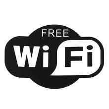 1 قطعة أسود مجاني WiFi ملصق تسجيل نافذة مقهى مطعم بار حانة متجر متجر الإنترنت باب زجاجي ويندوز صور مطبوعة للحوائط 150X104 مللي متر