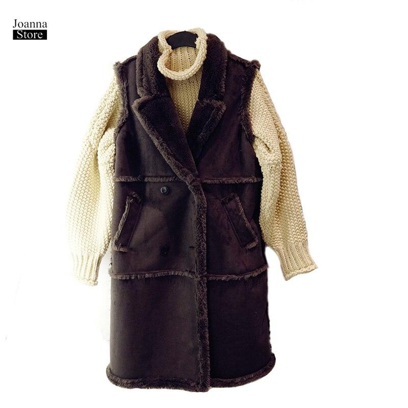 Chaqueta de Invierno para mujer, chaleco sin mangas, abrigo de terciopelo grueso Delgado, chaleco de ante falso, abrigo, chaquetas largas de lana de cordero, chaquetas de otoño para mujer
