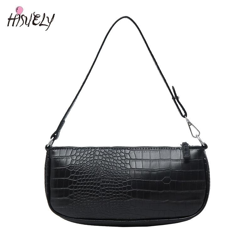 Nuevos bolsos de hombro pequeños a la moda para mujer, Bolso Baguette de piel de cocodrilo, bolsos de marca de diseñador negros para mujer, bolsos de mano, Clutch, oferta