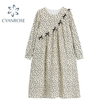 2021 Women's Dress Lovely Flower Printing Loose Cotton Long Sleeve Summer Zipper O Neck Bow Applique