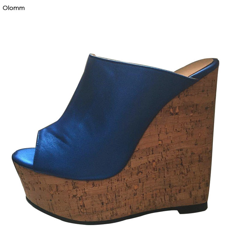 Olomm 2020 sandalias de plataforma para mujer, sandalias sexis con tacón alto, sandalias con punta abierta, bonito azul, zapatos de fiesta para mujer de talla grande 5-15