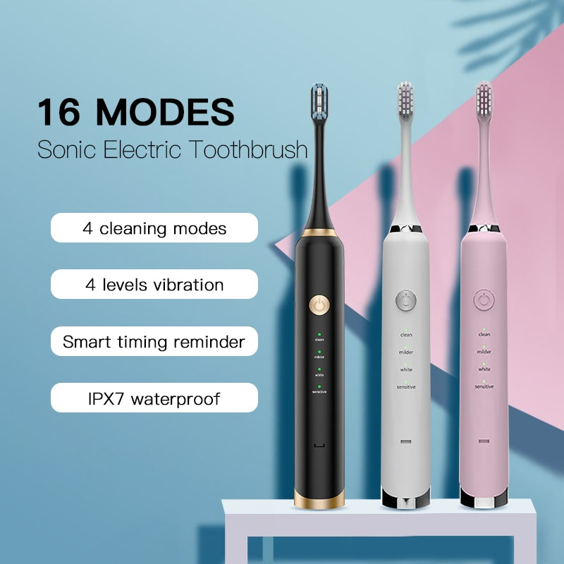 16Mode Sonic Electric Toothbrush 5 Replacement Brush Heads Ultrasonic USB Rechargeable Electronic Smart Traveling Brush Teeth 10 modes automatic sonic electric toothbrush rechargeable usb charger ultrasonic teeth brush for adults 5 10 replacement heads