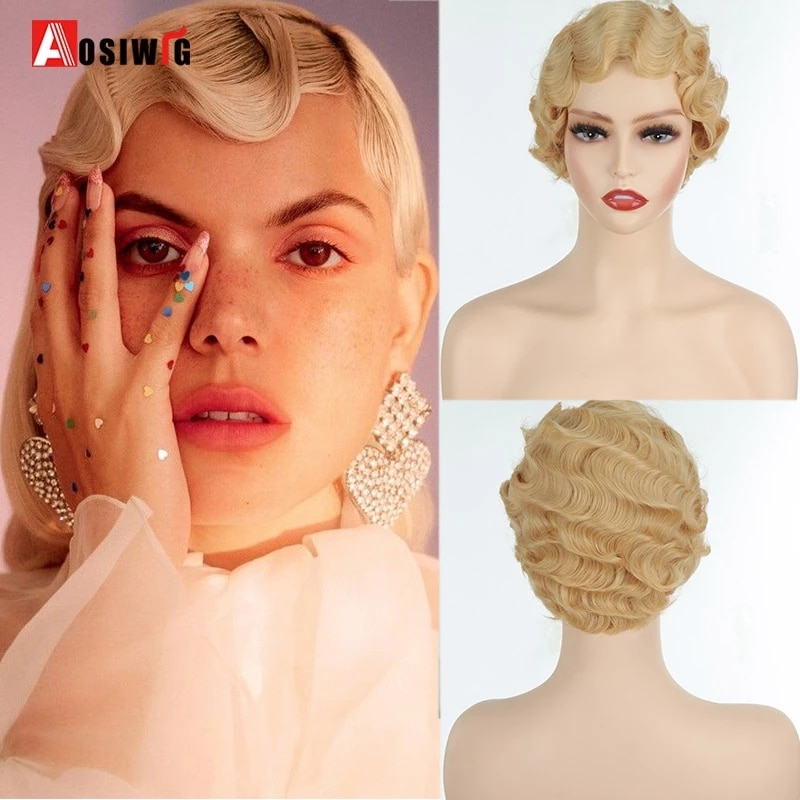 AOSIWIG Short Curly Black Cute Wig Black Finger Waves African Afro Hair Synthetic Wigs For Black Women Heat Resistant