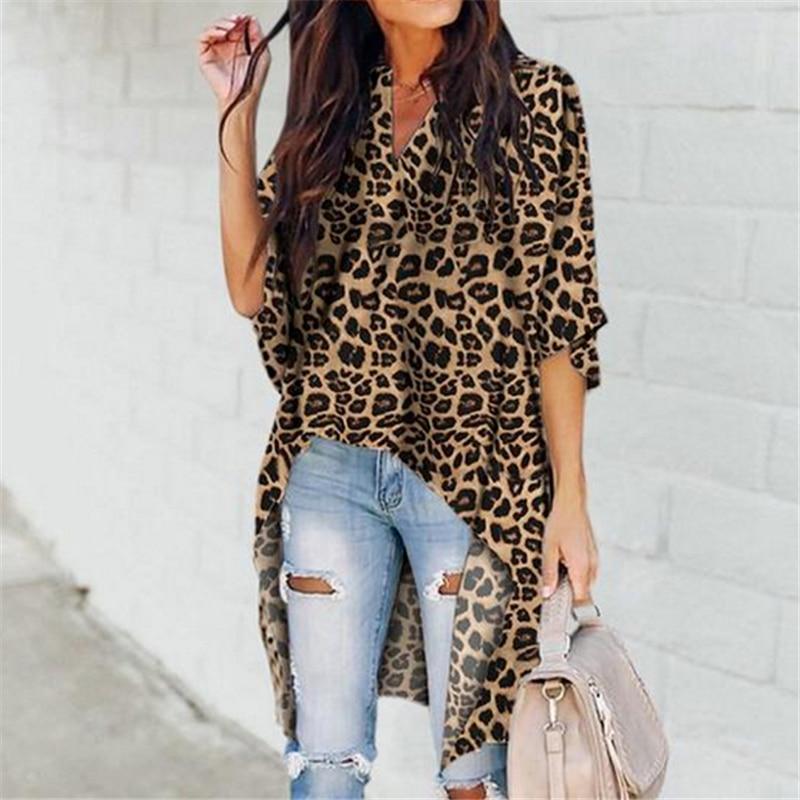 Spring Autumn Leopard Print Chiffon Long Blouse Women Ladies Half Sleeve Casual Shirt Tops Femme Camisas Mujer