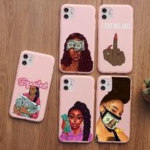 PUNQZY 재미 있은 돈 스택 kash 인형 검은 소녀 전화 케이스 아이폰 11 프로 최대 7 6s 8 플러스 X XR XS 최대 서 리 낀 소프트 TPU 케이스
