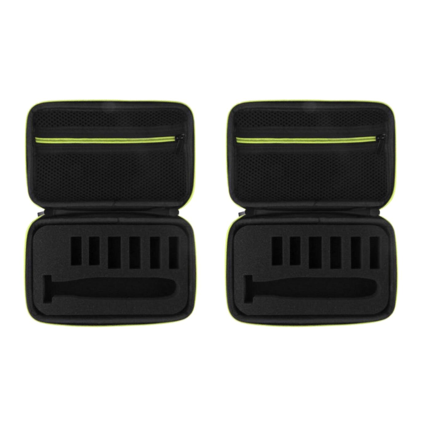 2 pçs caixa de barbear elétrica eva caso duro trimmer shaver bolsa organizador saco transporte para uma lâmina