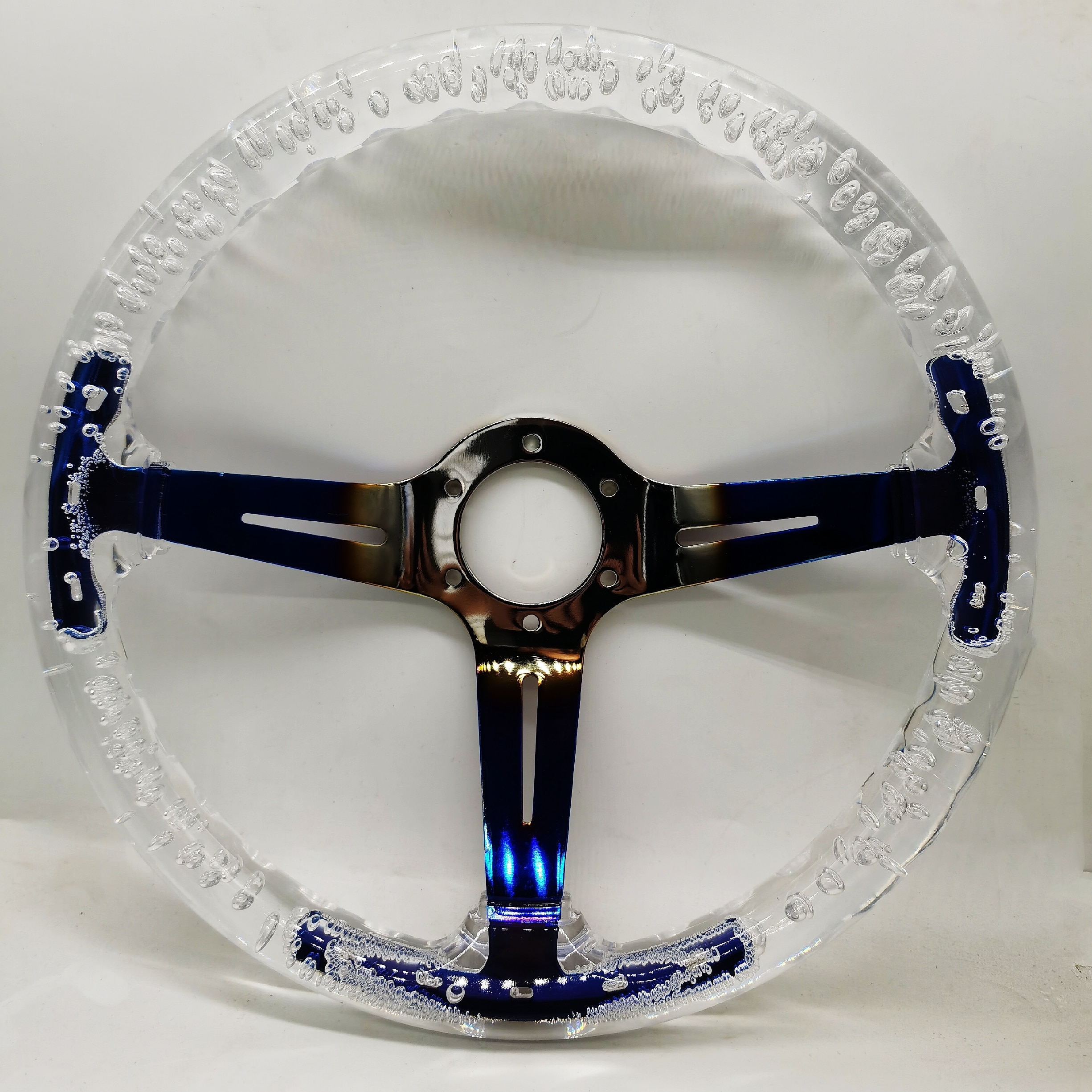 New 350mm 14inch Acrylic Transparent Racing Sports Steering Wheel Neo Chrome ABS 70mm Deep Universal Car Auto with Logo