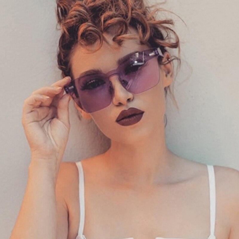 Oversized Candy Sunglasses Clear Frame Women 2020 Big Rimless Ladies Sun Glasses Trendy Unique Eyewear Oculos De Sol Feminino