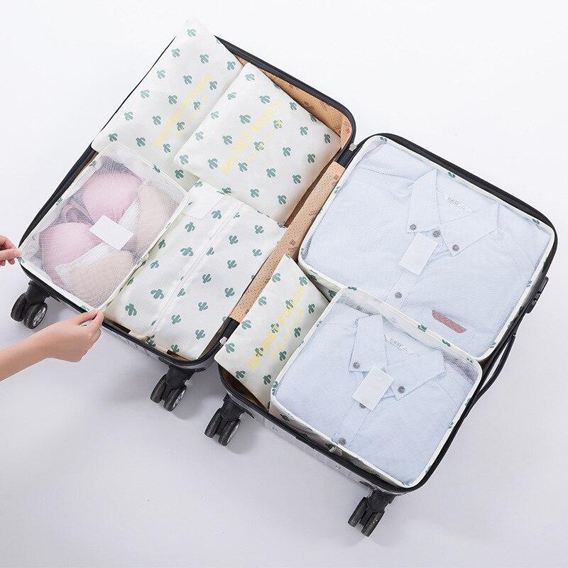7 Uds. Cubos de embalaje bolsa organizadora de viaje bolsa de ropa maleta de equipaje portátil bolsas elegantes accesorios de viaje de uso Unisex