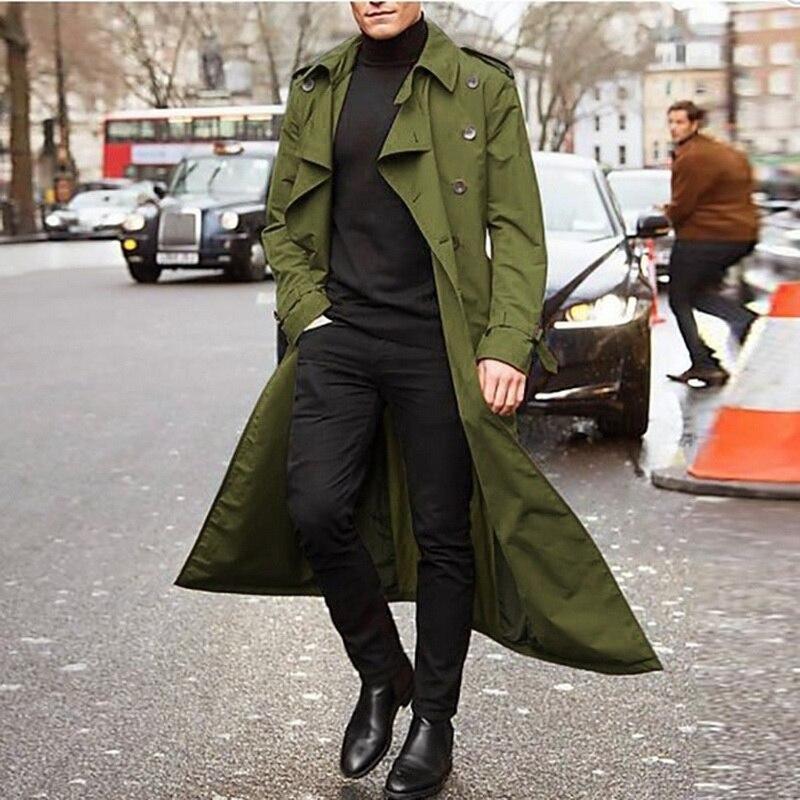 2021 мужские модные тренчи, осенние мужские длинные куртки, пальто, мужские повседневные однотонные облегающие ветровки, зимние теплые пальт...