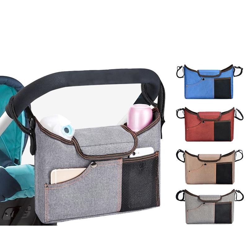 Baby Stroller Bag Stroller Organizer Black Travel Mommy Diaper Bags Baby Stuff Supply Storage Pram Buggy Cart Bottle Holder Bag