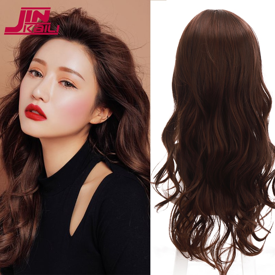 JINKAILI Long Body Wavy Wigs for African American Black Women Synthetic Middle Part Wig Brown Red Heat Resistant Wig