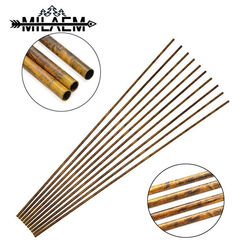 12 Uds. Árbol de flecha de carbono de camuflaje con columna vertebral 250/300/350/400/450/500/550/600 para eje de 30 pulgadas, arcos corporales, caza con arco